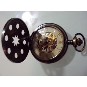 Reloj De Bolsillo Eskeleton Mecanico De Cuerda Color Bronce