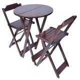 Jogos De Mesa Bar Bistrô Dobrável Com 2 Cadeiras Altas