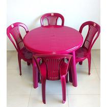 Jogo De Mesa Redonda C/ 4 Cadeiras Plásticas Vinho