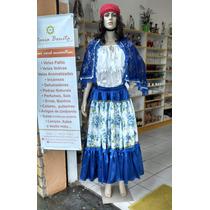 Saia Cetim Azul Com Estampado - Umbanda / Cigana
