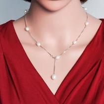 Fino Collar Perla Auténtica Aaa Y Plata, Aretes Regalo Novia