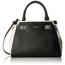 Bolsa Calvin Klein Toya Saffiano Satchel, Black/white