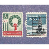 2 Estampillas Usa Navidad 4c 5c Christmas 1962 1963 Árbol