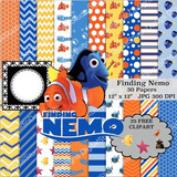 Kit Imprimible Pack Fondos Buscando A Nemo 40 Clipart