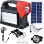 Luminaria + Lanterna + Power Bank + 3 Luz Led + Placa Solar