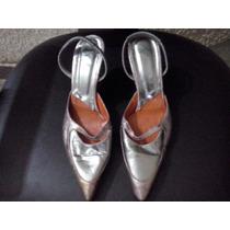 Sandalias Stilettos De Fiesta Plateadas N°36