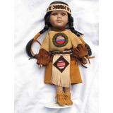 Hermosa Pocahonta Original De Porcelana Y Cuero