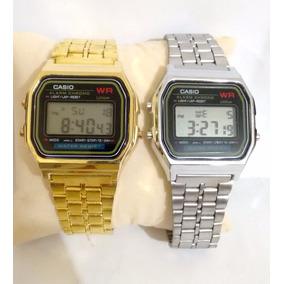 Oferta Kit 2x Relógio Casio Retro Vintage 1 Dourado 1 Prata