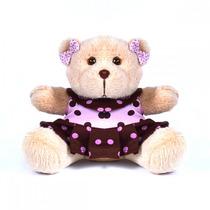 Urso Rosa Menina Ursa Com Roupinha Médio 16cm Tamanho Mini
