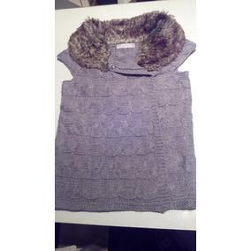 Zara Chaleco Saco Cardigan Sweater Lana Piel Talle S