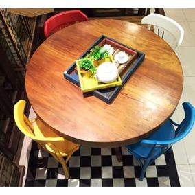 Mesa Jantar Café Redonda Peroba Madeira Demolição