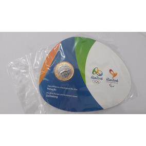 Moeda 1 Real Dos Jogos Olímpicos: Natação (lacrada)