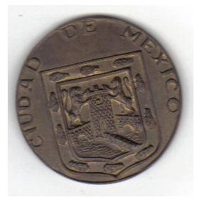 Antiguo Medallon Bronce Escudo Armas Ciudad De Mexico - Vbf