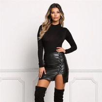 Falda Fashion Negra Corta Mujer Leather Skirt High Waist