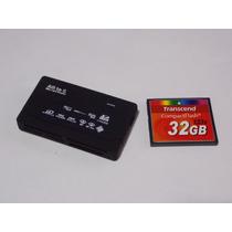 Cartão Memória Compact Flash 32gb Transcend + Leitor Usb