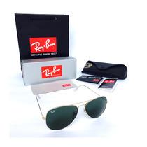 Gafas Ray Ban Aviador 3025 Negro G15 Marco Dorado Originales