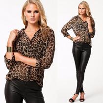 Blusa Feminina Estampada De Onça Leopardo Ótima Qualidade