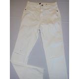 Calça Jeans Branca Com Rasgo Joelho Cintura Alta Tam 36 A 40