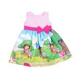 Vestido Infantil Festa Temático Dora Aventureira 100%algodão