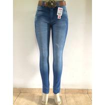 Calça Skinny Cintura Alta Feminina W. Pink Jeans Com Cinto