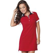 Vestido Gola Pólo Vermelho Principessa Lizete