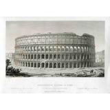 Lienzo Tela Grabado Siglo 19 Lateral Coliseo Romano 50 X 72