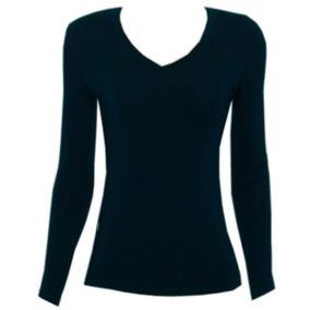 Camiseta Fem Viscolycra Musgo Mg Longa Dec V Tam P Ref 1195