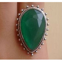 Anel Pedra Grande Esmeralda Natural Prata 925 Aro 16
