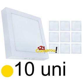 Kit 10 Painel Plafon 18w Sobrepor Quadrado Led Quente