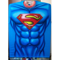 Playera Aerografia Torso Superman Comic Dc Cine Tv Aerografo