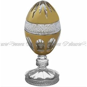 Ovo Bomboniere Pinha C Base Cristal Todo Lapidado Dourado