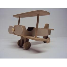 Avião De Madeira Mdf Urso Aviador Pequeno Principe 22 Cm