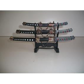 Mini Espadas Katana Samurai Abre Cartas Com Suporte Com Três