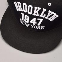 Boné Aba Reta Brooklin New York Bordado Hip Hop Br E Preto