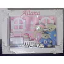Quadro Porta Maternidade Família Urso Com Led E Vidro