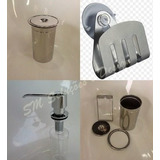 Kit Lixeira Embutir P + Dosador + Porta Esponja Em Inox 304