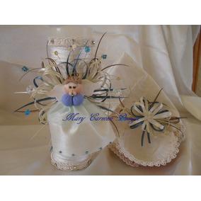 Set Bautizo Angel Porcelana Fria (vela,concha, Toallita)