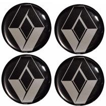 Kit Emblema Renault Botom Calota Roda Resinado 48 Mm -4peças