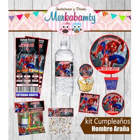 Invitaciones De Cumpleaños Kit Hombre Araña Imprimelo Tú!!