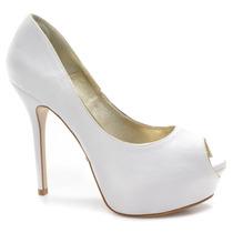 Sapato De Noiva Branco Peep Toe Laura Porto | Zariff