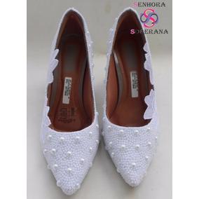 Sapato Branco Rendado Perolado Noivas M (casamento)