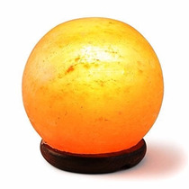 Lámpara De Sal Esfera Base De Madera 14 Cm Apx Blakhelmet Sp