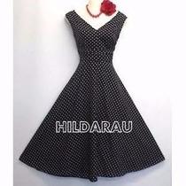 Vestido Bolinhas Pinup Retrô Vintage Anos 60 Decote V