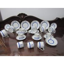 Jogos De Chá E Café Português Vista Alegre Azul/ Prata 12pçs