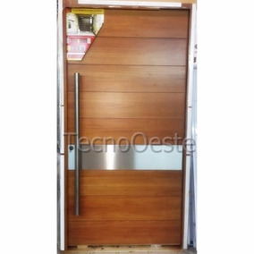 puerta madera pivotante x cm flaminia acero tono cedro