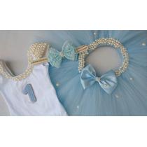 Kit Colan + Tutu Frozen Cinderela Azul Bebê