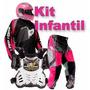 Kit Conjunto Roupas Motocross Trilha Infantil Feminino