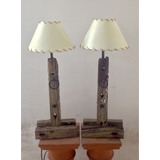 lampara veladora en madera y simil lonja rstica artesanal