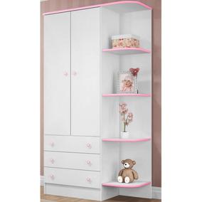 Guarda-roupa Infantil Doce Sonho 2 Portas Rosa/ Branco