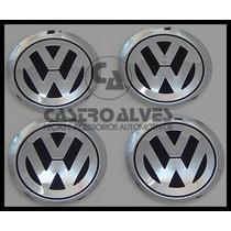 Kit 5 Pçs Emblema Volkswagen Alumínio Jetta Roda Liga 78mm